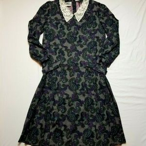 Laura ashley dress vintage 12 pleated wool cotton